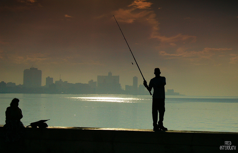 Fishing on the Malecon, Havana