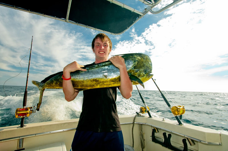 A freshly-caught dorado off Cancun